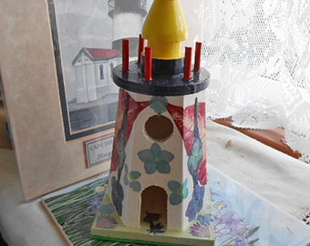 Wood LIGHTHOUSE with PRESSED FLOWERS Organic Handmade Art, Red Poinsettia Pansies Blue Salvia Hydrangea & Delphiniums, Ocean Beach Decor 1
