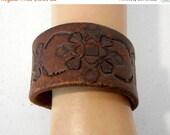 SALE Distressed Brown Leather Cuff Wrist Bracelet Vintage Reclaimed Western Boho Unisex