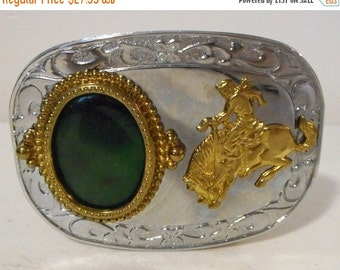 Bucking Horse Cowboy Belt Buckle Green Lapidary Stone Silver Gold Rockabilly Western