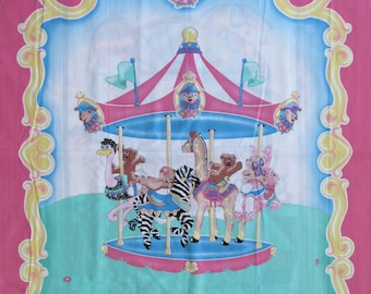 "100% Cotton Fabric Panel roughly 36"" x 45"" Baby Crib Quilt Blanket Wall Hanging Carousel Teddy Bears Pink Blue Giraffe Zebra Ostrich"