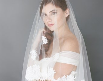 Chantilly Lace Veil, Lace Bridal Veil, Ivory Wedding Veil, Chantilly Eyelash Fringe Lace, Cathedral Bridal Veil, Ivory Veil 1723
