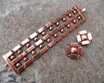Vintage RENOIR Signed Copper Link Bracelet and Matching Earrings in Modernist Design.  Spheres and Rectangles