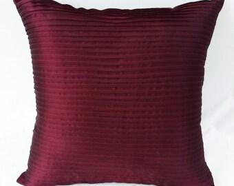 burgundy pintuck  pillow   burgundy   throw pillow.  burgundy  cushion cover 20inch custom made