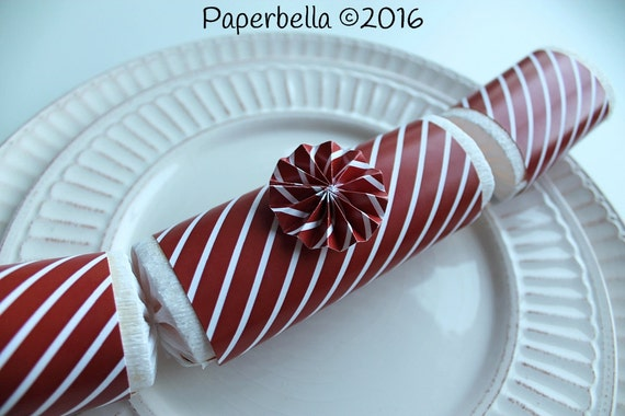 Fill Your Own Party Crackers Christmas Deep Red White Striped Party Popper, Personalize with Monogram and a Paper Rosette or Star Sequins