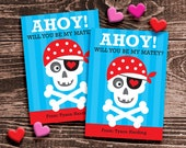 Personalized Classroom Valentine Cards for Kids – DIY Printable – Pirate Boy (Digital File)