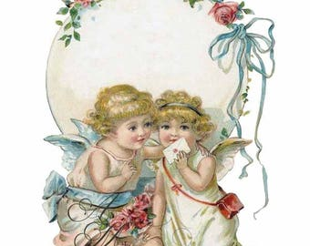 Beautiful Vintage Victorian Chic Shabby Angle Cherub Kitchen Labels Waterslide Water Slide Iron On Transfer Miniature Craft Decals lb45