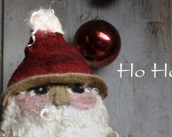 Father Christmas, Vintage Santa Claus, Holiday Christmas Table Decoration, Home Decor, Mantel Foyer Centerpiece, Felted French Wool