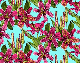 Modern Floral Fabric - Stargazer Lilies By Scrummy - Mod Lily Home Decor Cotton Fabric By The Yard With Spoonflower