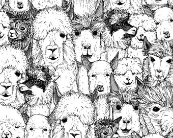 Black and White Alpaca Fabric - Just Alpacas Black and White By Scrummy - Llama home decor Cotton Fabric By The Yard With Spoonflower