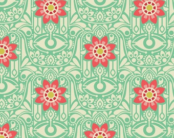 Hamsa Fabric - Hamsa By Laura_Mayes - Mint and Pink Modern Home Decor Hamsa Cotton Fabric By The Yard With Spoonflower