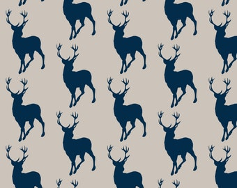 Beige Buck Fabric - Buck- Beige/Navy Cottonwood Woodland By Sugarpinedesign - Boys Woodland Decor Cotton Fabric By The Yard With Spoonflower