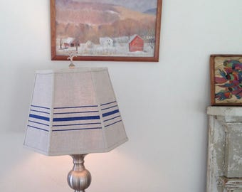 """Nautical Grain Sack Lamp Shade, Blue Lampshade in Vintage Hemp 9""""t x 14""""b x 10.5""""high washer top, Table Lampshade, Country House Decor"""