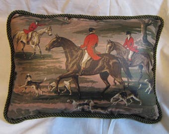 Handmade ENGLISH FOXHUNT Large Horse Pillow w/Twist Cord Piping Quality Upholstery Brown Tones Fabric