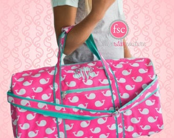 Girls duffle bag  , whale duffle bag  , monogrammed  duffle bag , personalized duffle bag , kids travel bag , kids camp bag