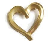 Modernist Heart Brooch or Pin Vintage Matte Finish Gold Tone