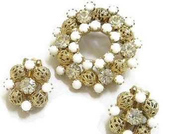 Vintage Milk Glass Cabochons, Clear Rhinestones and Filigree Balls Circle or Wreath Brooch and Earrings Demi Parure Set