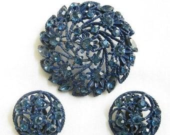 Cobalt Blue Enamel and Rhinestones Brooch and Earrings Vintage Flower Set