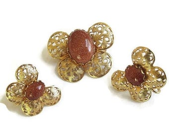 Goldstone Butterfly Brooch and Earrings Vintage Copper Filigree Set