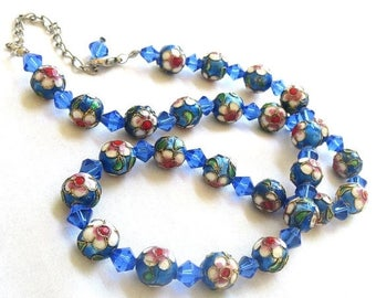 Cloisonne Crystal Bead Necklace Blues, Red & Green with Gold Beading Vintage
