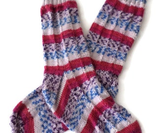Socks - Hand Knit Women's Fair Isle Pink and Blue Pin Striped Socks - Size 7-8 - Casual Socks - Striped Socks - Fair Isle Socks