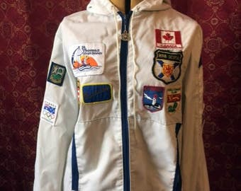 White Hooded 70s Jacket with International Patches