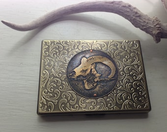 Ram Sheep Head Etched Wallet / Cigarette Case in Thin Filigree 100-- Acid Bath Series