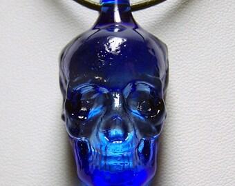 Light Sapphire Transparent Blue Solid Skull 3D Lampwork Large Glass Pendant