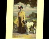 1909 Colorado DPO Clifford Straight Edge Stamp Woman Dog St Benard Postcard R72