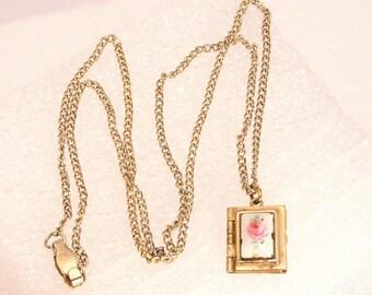 Guilloche Enamel Book Locket Pendant for Necklace Flowers Goldtone Painted Floral
