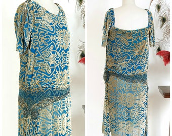 RESERVED ON LAYAWAY Vintage 1920s Dress - Dramatic Rare Ocean Blue and Gold 20s Silk Devore Velvet Dress with Blue and Pewter Beads
