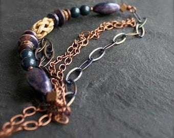 ON SALE Necklace - Navy Patina Copper, Beaded Strand Necklace, Carved Bone, Blue Goldstone, Patina Chain, Handmade Boho Jewellery