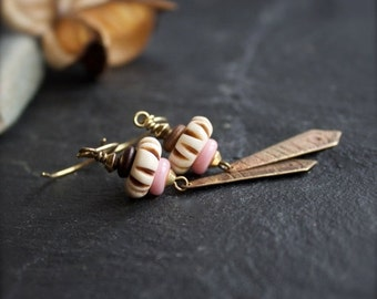 ON SALE Etched Brass Dangle Drop Earrings - Brown Wood, Cream Carved Bone, Pink Glass, Tribal Boho Jewellery