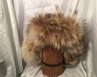 Mongolian, Russian, Norse, mountain man coyote hat, ear flaps and fur down the back of the neck, leather top. mens fur hat, womens fur hat