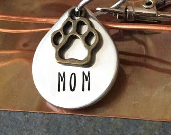 DOG MOM GIFT | Pewter Mom Keychain | Paw Print Keychain | Dog Keychain | Dog Jewelry | Dog Lover Gift | Mom Gift