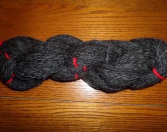 Hand Spun Alpaca Yarn 2 ply Worsted Natural Dark Rose Grey 4.2oz