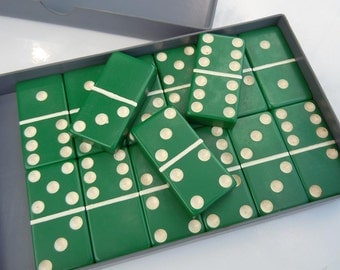 15 Vintage Green and White Dominoes Old Plastic Dominoes Game Pieces