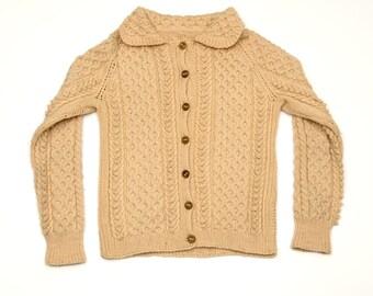 Hand knit cream light tan fisherman collared cardigan sweater