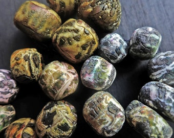 Rustic crackle polymer clay art bead sets- handmade artisan beads by fancifuldevices