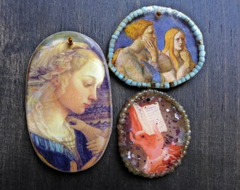 Handmade resin charm pendants with beaded frames by fancifuldevices- ooak handmade pendants