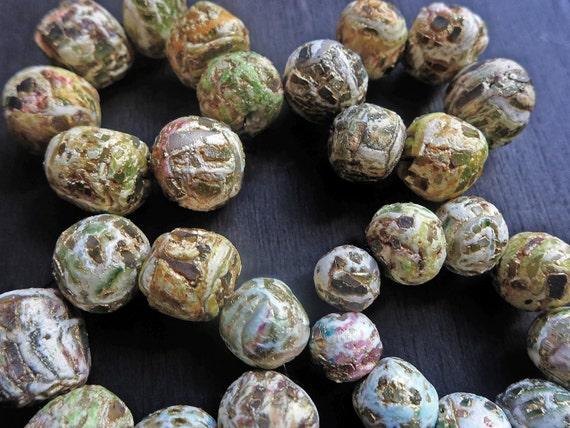 Rustic crackle polymer clay art bead sets- handmade artisan beads in smaller sizes