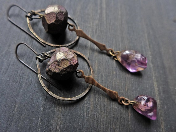 "Artisan earrings with polymer clay art beads and amethyst- ""The Magi"""
