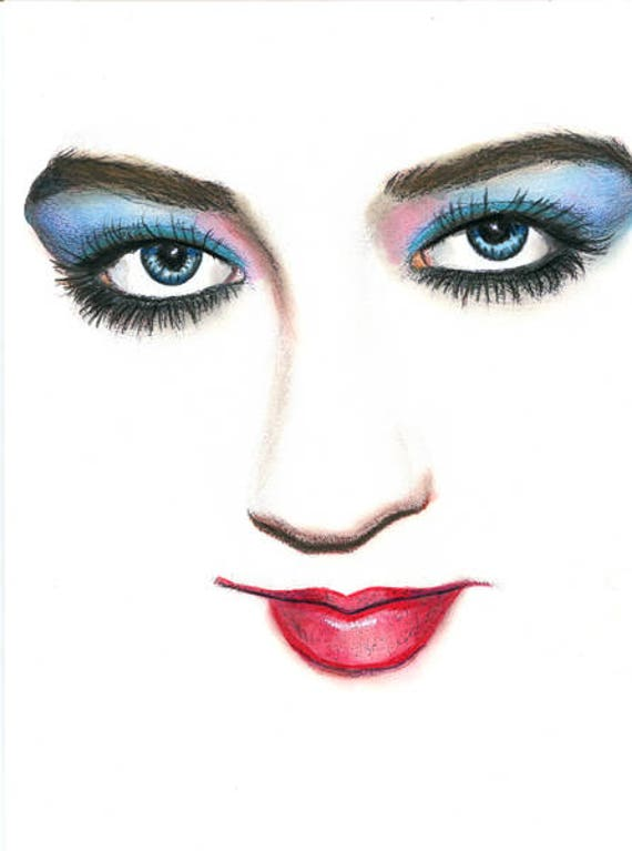 blue eyed woman face original drawing makeup portrait colored pencils red lips beauty salon art original art Blue Eyeshadow Elizavella