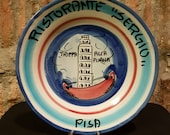 RESERVED LISTING For FELICYE---Vintage Italian Ceramic Solimene Vietri 1980 Buon Ricordo Restaurant Plate - Pisa