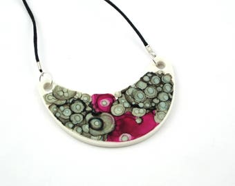 Abstract Crescent Ceramic Necklace