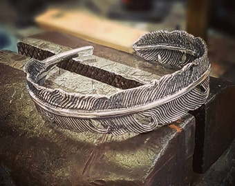 Silver Feather Bangle Bracelet in Solid White Bronze with Sterling Overlay 175