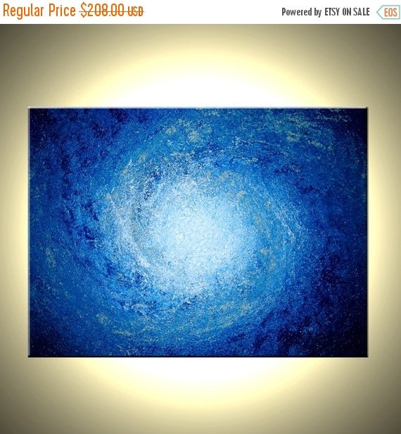 Original Blue White Painting, Textured Abstract Storm Painting, Palette Knife Art On Sale by Dan Lafferty - 24 X 30 - Get This Art For FREE