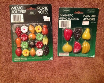 2--Vintage--1980's--Packages--MAGNETS--New Old Stock--Fruit & Flowers--Refrigerator Magnets--Memo Holders