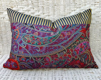 Modern Bohemian Pillows, Boho Pillow Covers, Eclectic Throw Pillows, Unique Pillow Covers,  Purple Gold Red Blue Lumbar Pillows 14x20