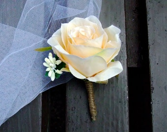 Wedding Boutonniere Silk Wedding Boutonniere Groom buttonhole, Groomsmen corsage rustic chic (B004A)