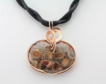 Petrified Coral Pendant. Listing 492057429